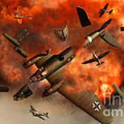 A German Heinkel Bomber Plane Blowing Poster
