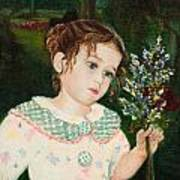 A Little Girl With Flowers Poster