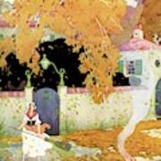 A Girl Sweeping Leaves Poster