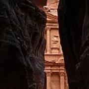 A Glimpse Of Al Khazneh From The Siq In Petra Jordan Poster