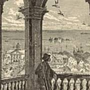 A Glimpse Of Charleston And Bay From St. Michael's Church 1872 Engraving By Harry Fenn Poster by Antique Engravings