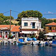 A Greek Island Harbor Poster