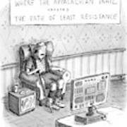 A Hiker Is Seen Sitting In An Armchair Watching Poster