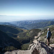 A Hiker Looks At The View Poster