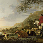 A Hilly Landscape With Figures Poster