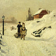 A Horse Drawn Sleigh In A Winter Landscape Poster by Fritz Thaulow
