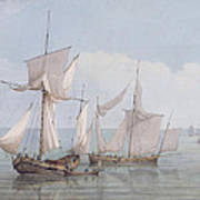 A Hoy And A Lugger With Other Shipping On A Calm Sea  Poster