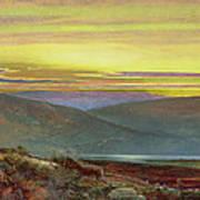 A Lake Landscape At Sunset Poster