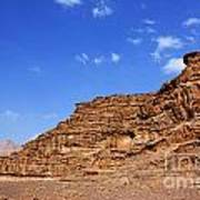 A Landscape Of Rocky Outcrops In The Desert Of Wadi Rum Jordan Poster