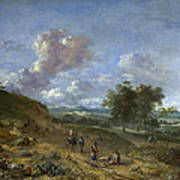 A Landscape With A High Dune And Peasants On A Road Poster