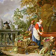 A Maid Washing Carrots At A Fountain Poster