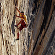 A Man Climbing A Big Wall In El Potrero Poster