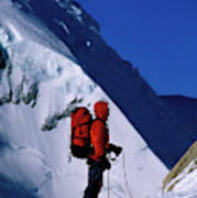 A Man Mountaineering In The Alps Poster
