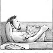 A Man Talking To The Cat Lying On His Stomach Poster