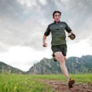 A Man Trail Runs Along The Spring Brook Poster