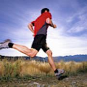 A Man Trail Runs In Salt Lake City Poster