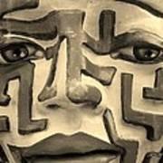 A Maze Ing Face 1 Sepia Poster