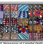 A Menagerie Of Colorful Quilts Triptych Poster