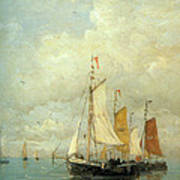 A Moored Fishing Fleet Poster