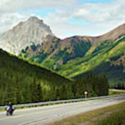 A Motorcyclist Enjoys An Open Stretch Poster