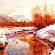 A Mountain Torrent In A Winter Landscape Poster