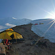 A Mountaineer Contemplates The Sun Poster