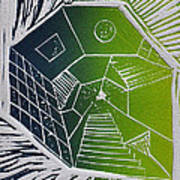 A New Dimension Blue And Green Linocut Poster