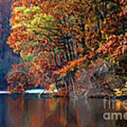 A Painting Barney's Autumn Pond Poster