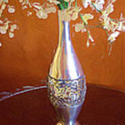 A Painting Silver Vase On Table Poster