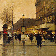A Parisian Street Scene Poster by Eugene Galien-Laloue