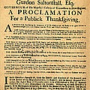A Proclamation Of Thanksgiving Poster by Digital Reproductions