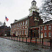 A Rainy Day At Independence Hall Poster