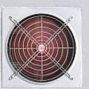 A Red Industrial Ventilated Fan On Grey Wall Poster
