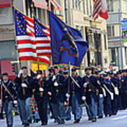 A Revolutionary Battalion Marching In The 2009 New York St. Patrick Day Parade Poster
