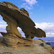 A Rock Formation Shaped By Wind Erosion Poster