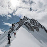 A Rope Team Climbs A Ridge Poster