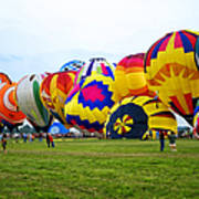 A Row Of Hot Air Balloons Left Side Poster