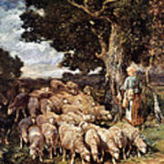 A Shepherdess With Her Flock Near A Stream Poster