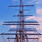 A Tall Ship At Sundown In Baltimore Poster