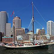 A Ship In Boston Harbor Poster