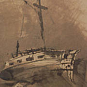 A Ship In Choppy Seas Poster by Victor Hugo