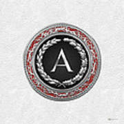 A - Silver Vintage Monogram On White Leather Poster