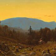 A Sketch Of Hunter Mountain. Catskills. Twilight On Hunter Mountain Poster