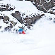 A Snowboarder Riding Through Powder Poster