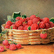 A Still Life Of Raspberries In A Wicker Basket  Poster