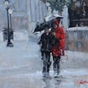 A Stroll In The Rain Poster by Laura Lee Zanghetti