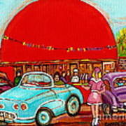 A Sunny Day At The Big Oj- Paintings Of Orange Julep-server On Roller Blades-carole Spandau Poster
