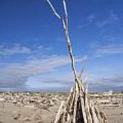 A Teepee Madeup Of Driftwood At Bandon Beach Poster