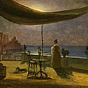 A Terrace In Amalfi In Moonlight Poster