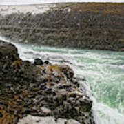 A Tourist Takes A Photo At Gullfoss Poster